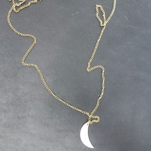 Gold Chain Long Moon Half Crescent Necklace
